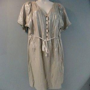 J Crew Shimmery Tan Shirt Dress 8
